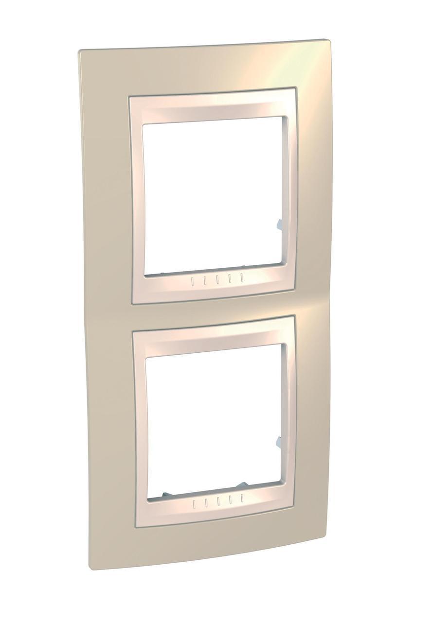 Рамка 2-ая (двойная) вертикальная, Песчаный/Бежевый, серия Unica, Schneider Electric