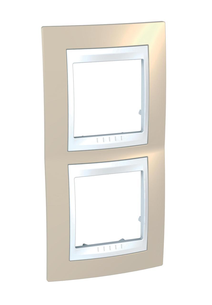 Рамка 2-ая (двойная) вертикальная, Песчаный/Белый, серия Unica, Schneider Electric