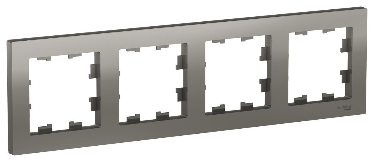 Рамка 4-ая (четверная), Сталь, серия Atlas Design, Schneider Electric