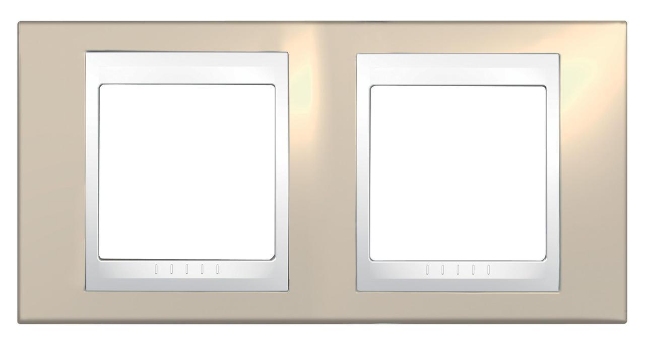 Рамка 2-ая (двойная), Песчаный/Белый, серия Unica, Schneider Electric