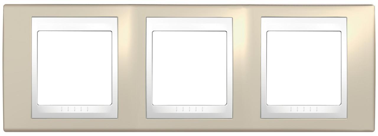 Рамка 3-ая (тройная), Песчаный/Белый, серия Unica, Schneider Electric