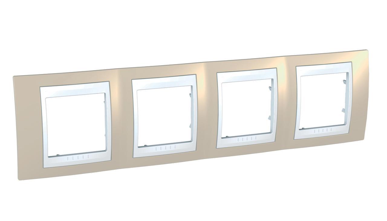 Рамка 4-ая (четверная), Песчаный/Белый, серия Unica, Schneider Electric