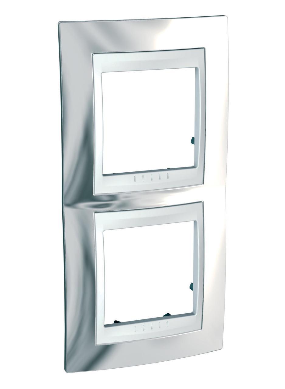 Рамка 2-ая (двойная) вертикальная, Серебро/Белый, серия Unica, Schneider Electric