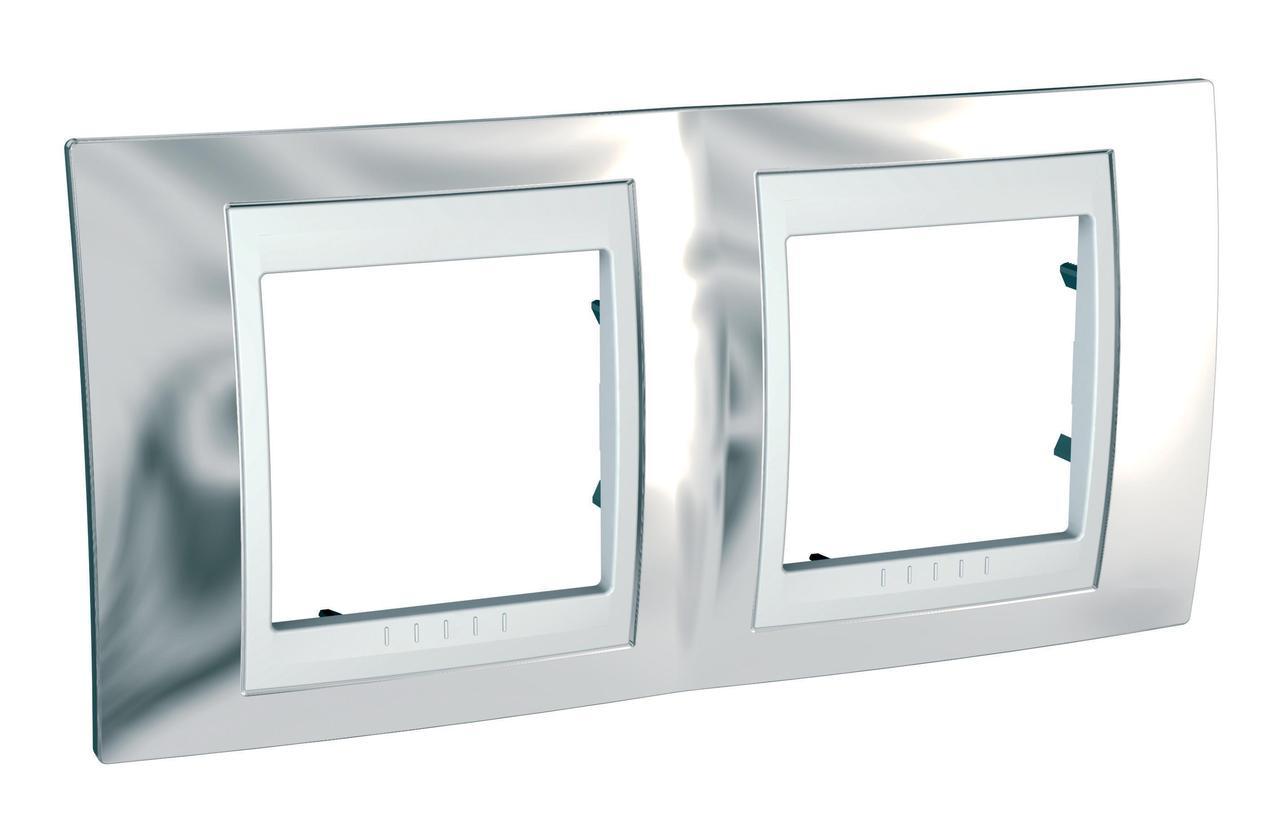 Рамка 2-ая (двойная), Серебро/Белый, серия Unica, Schneider Electric