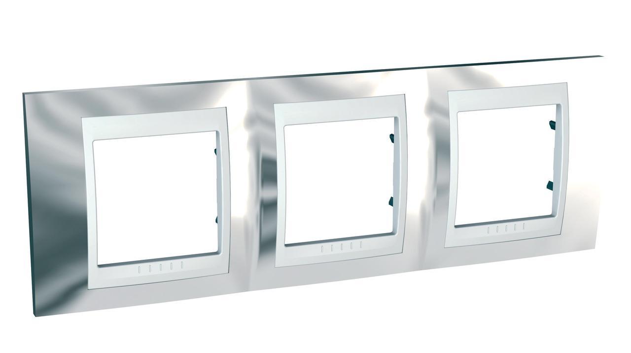Рамка 3-ая (тройная), Серебро/Белый, серия Unica, Schneider Electric
