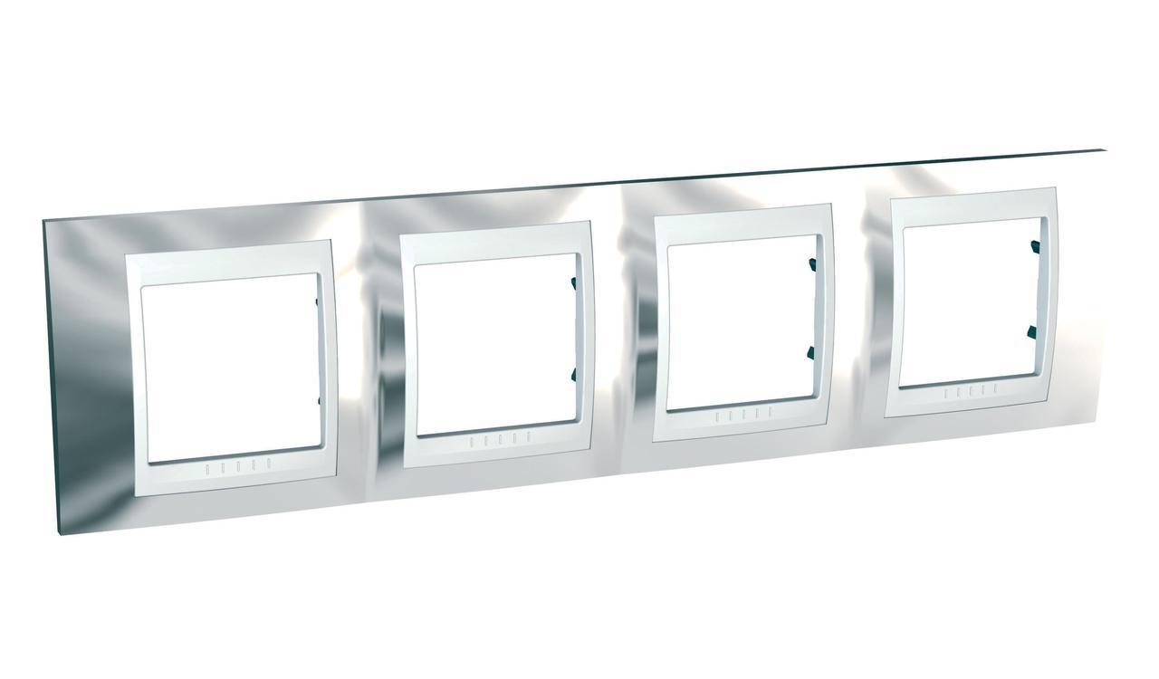 Рамка 4-ая (четверная), Серебро/Белый, серия Unica, Schneider Electric