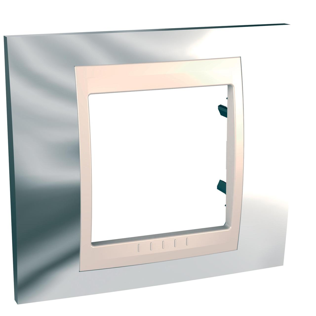 Рамка 1-ая (одинарная), Серебро/Бежевый, серия Unica, Schneider Electric