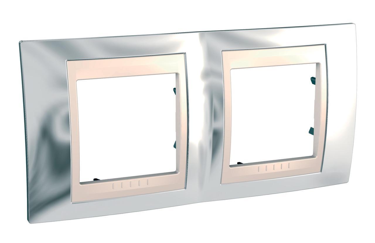 Рамка 2-ая (двойная), Серебро/Бежевый, серия Unica, Schneider Electric