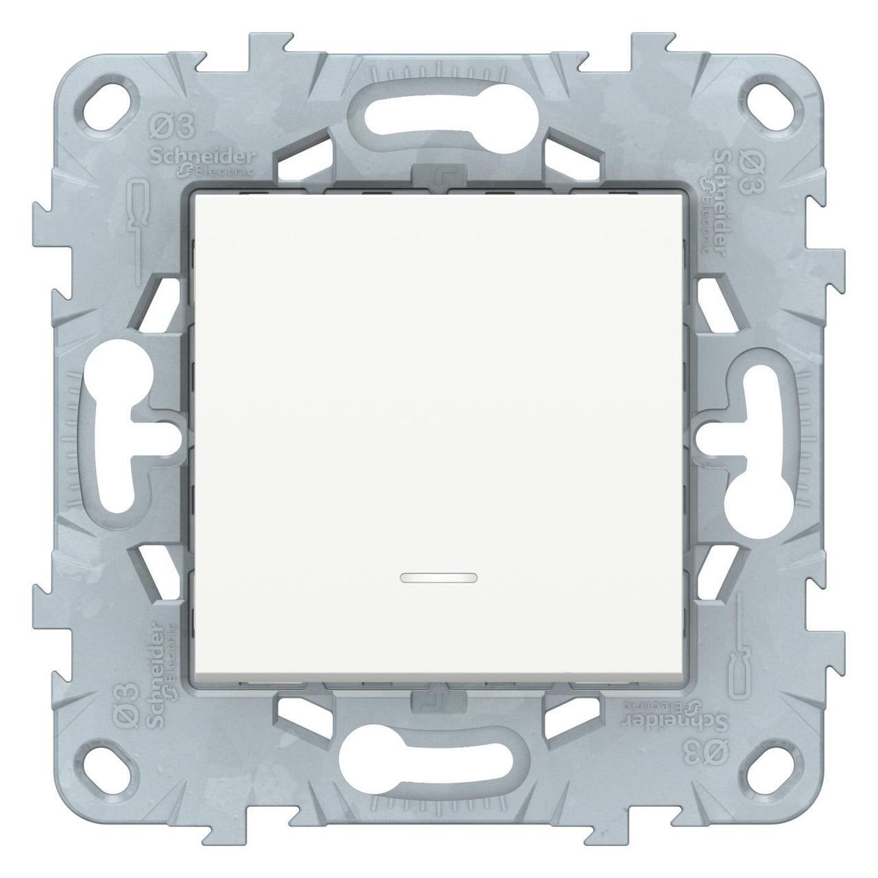 Выключатель 1-клавишный ,проходной с подсветкой (с двух мест) , Белый, серия Unica New, Schneider Electric