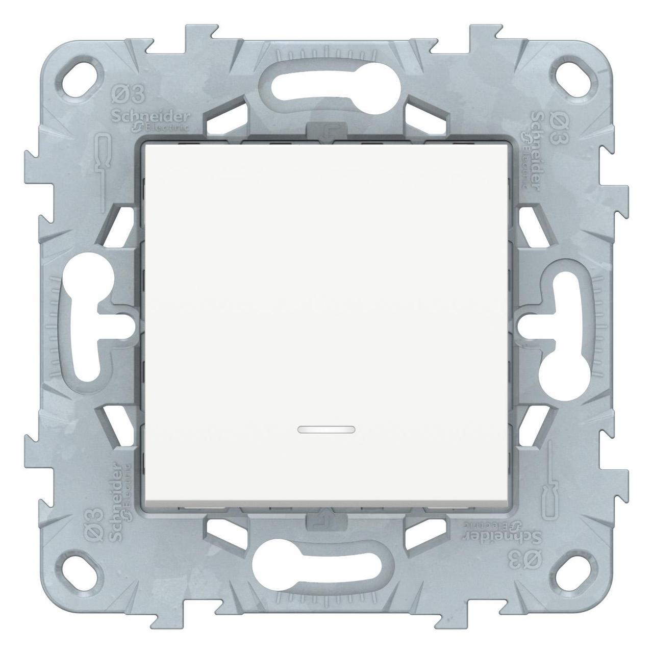 Выключатель 1-клавишный, перекрестный с подсветкой (с трех мест) , Белый, серия Unica New, Schneider Electric