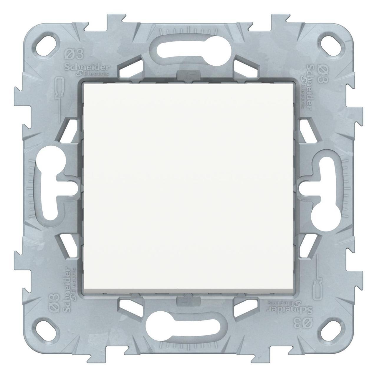 Выключатель 1-клавишный; кнопочный , Белый, серия Unica New, Schneider Electric