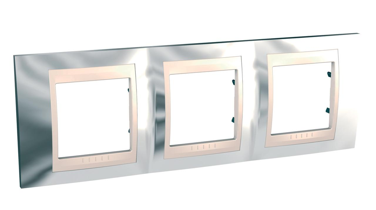 Рамка 3-ая (тройная), Серебро/Бежевый, серия Unica, Schneider Electric