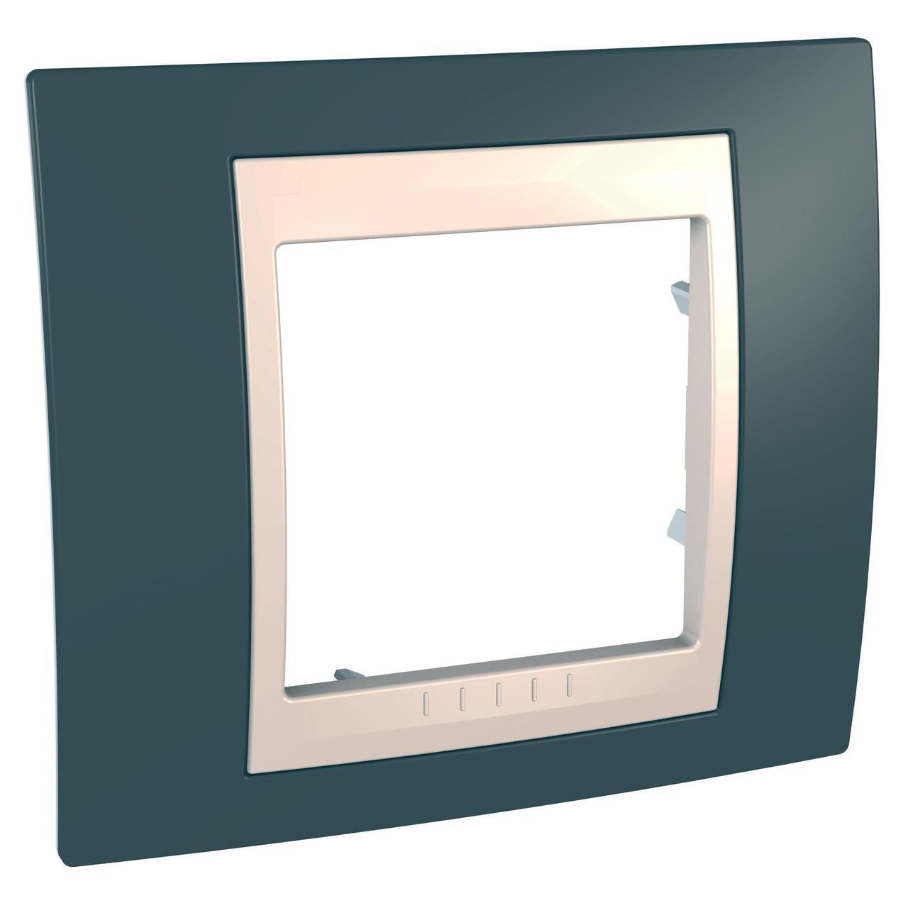 Рамка 1-ая (одинарная), Серо-зеленый/Бежевый, серия Unica, Schneider Electric