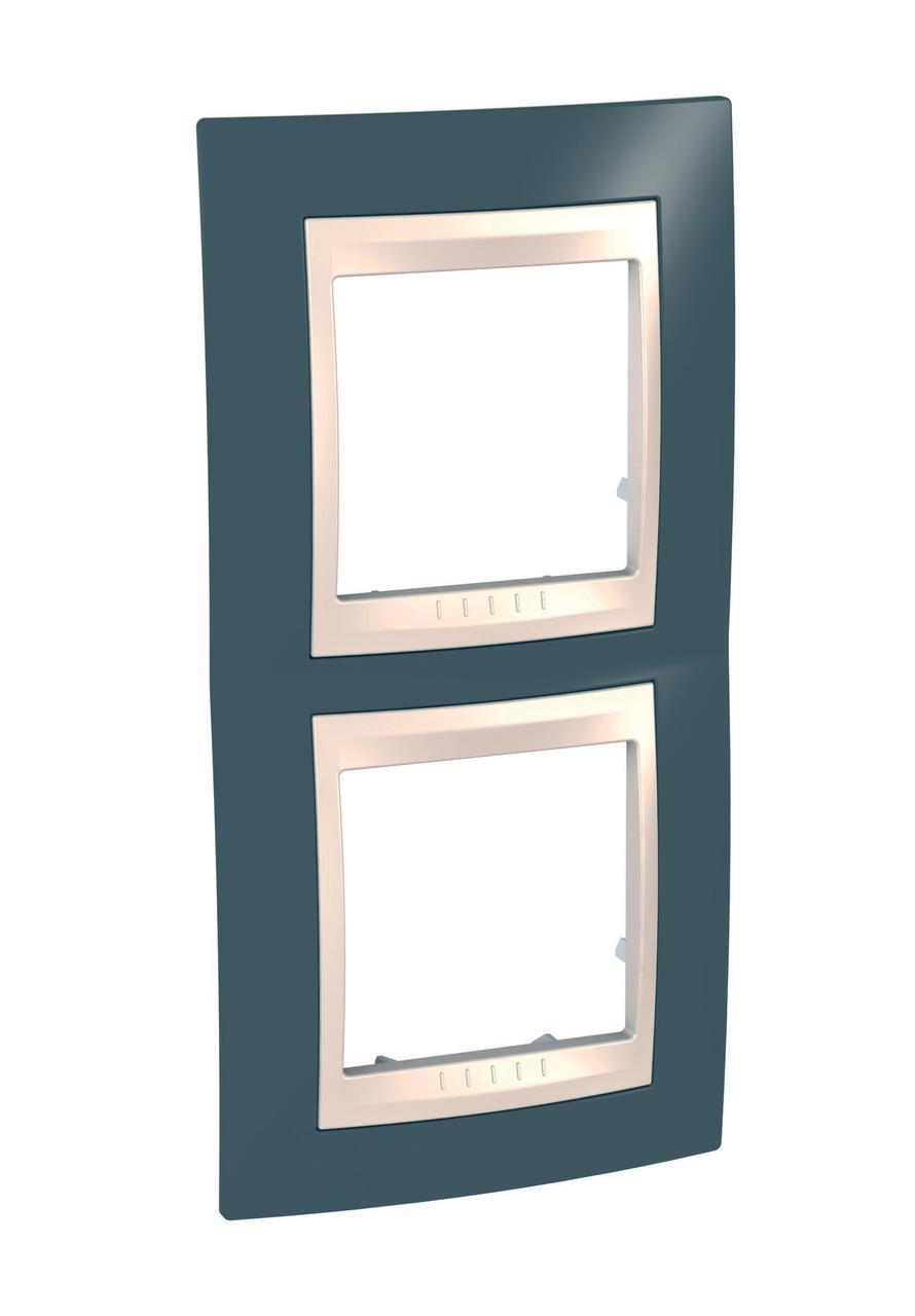 Рамка 2-ая (двойная) вертикальная, Серо-зеленый/Бежевый, серия Unica, Schneider Electric