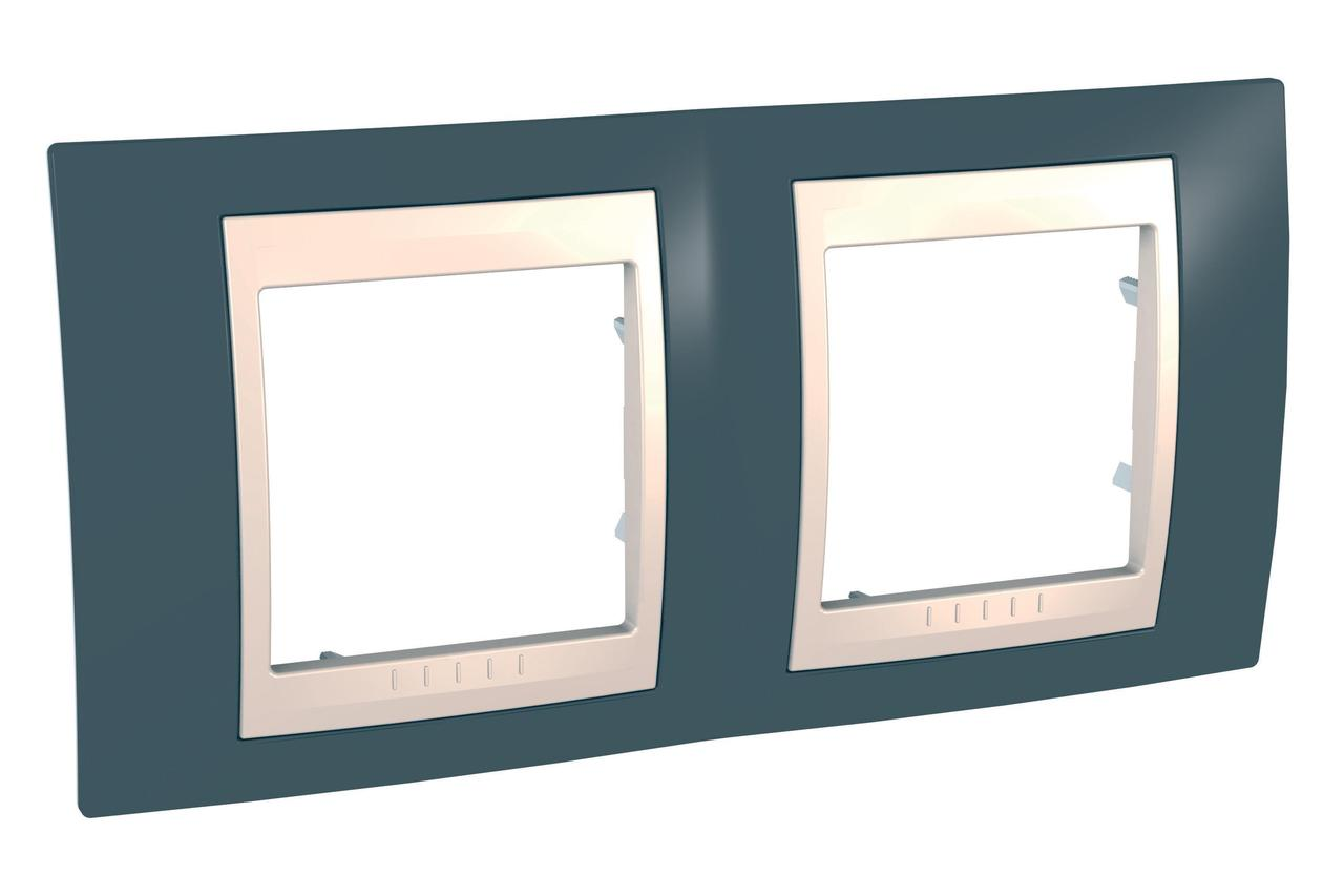 Рамка 2-ая (двойная), Серо-зеленый/Бежевый, серия Unica, Schneider Electric
