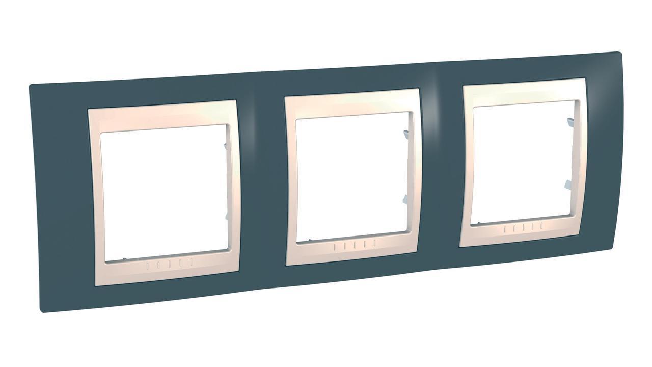 Рамка 3-ая (тройная), Серо-зеленый/Бежевый, серия Unica, Schneider Electric