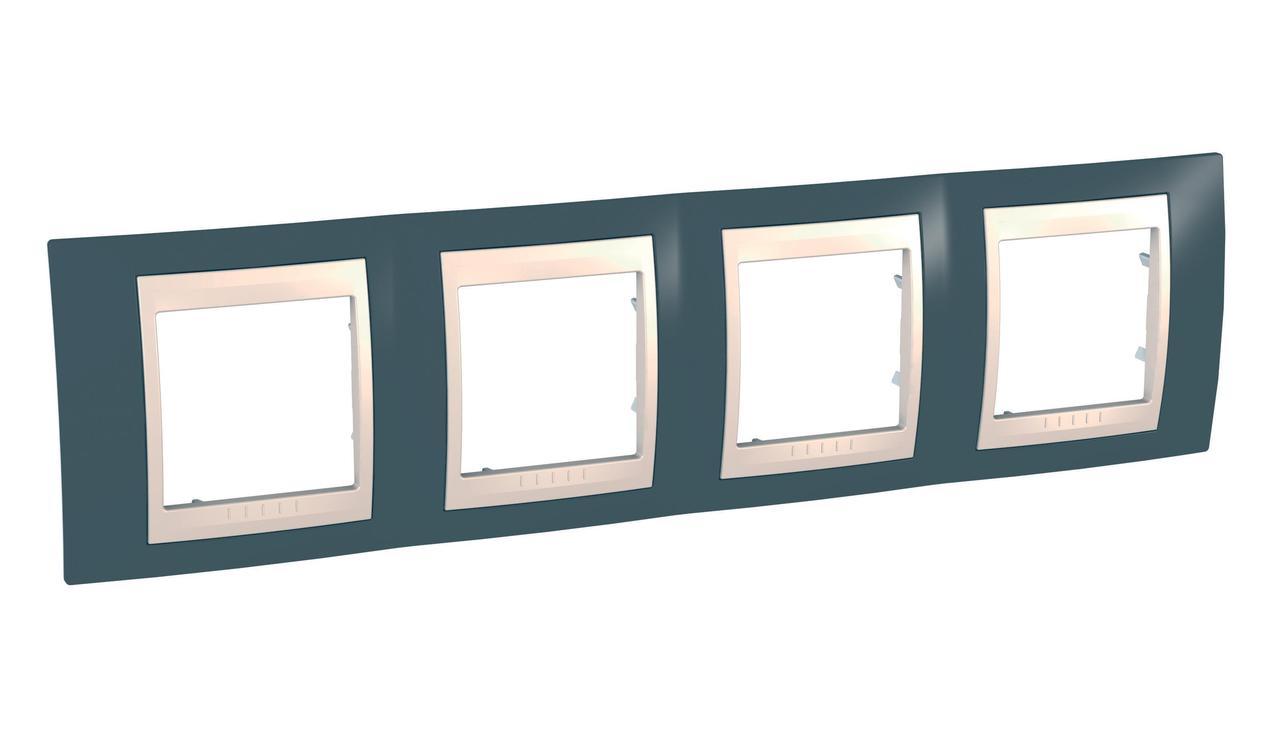 Рамка 4-ая (четверная), Серо-зеленый/Бежевый, серия Unica, Schneider Electric