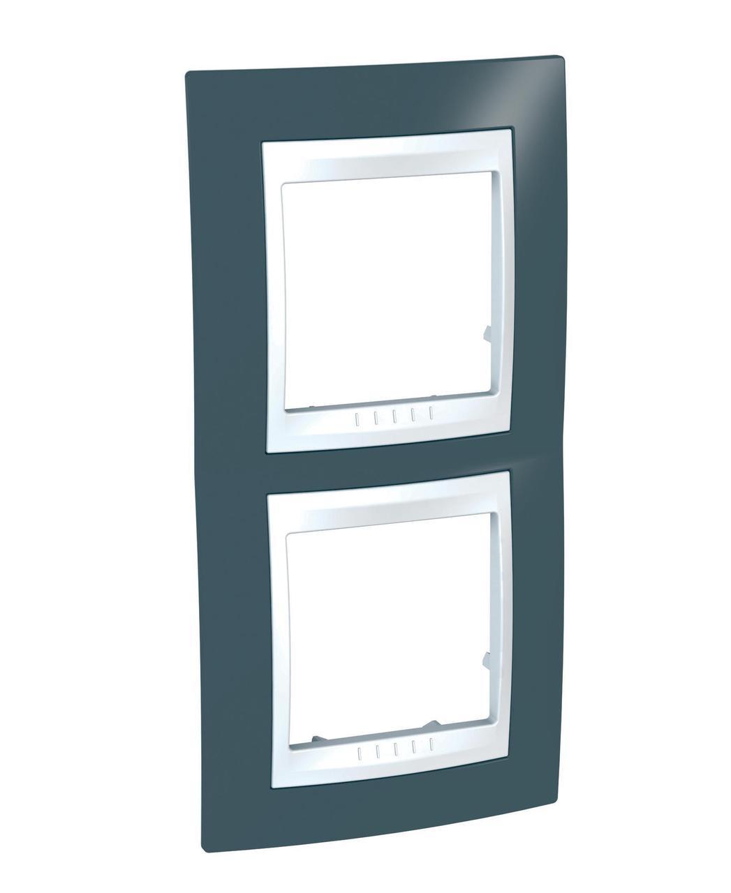 Рамка 2-ая (двойная) вертикальная, Серо-зеленый/Белый, серия Unica, Schneider Electric
