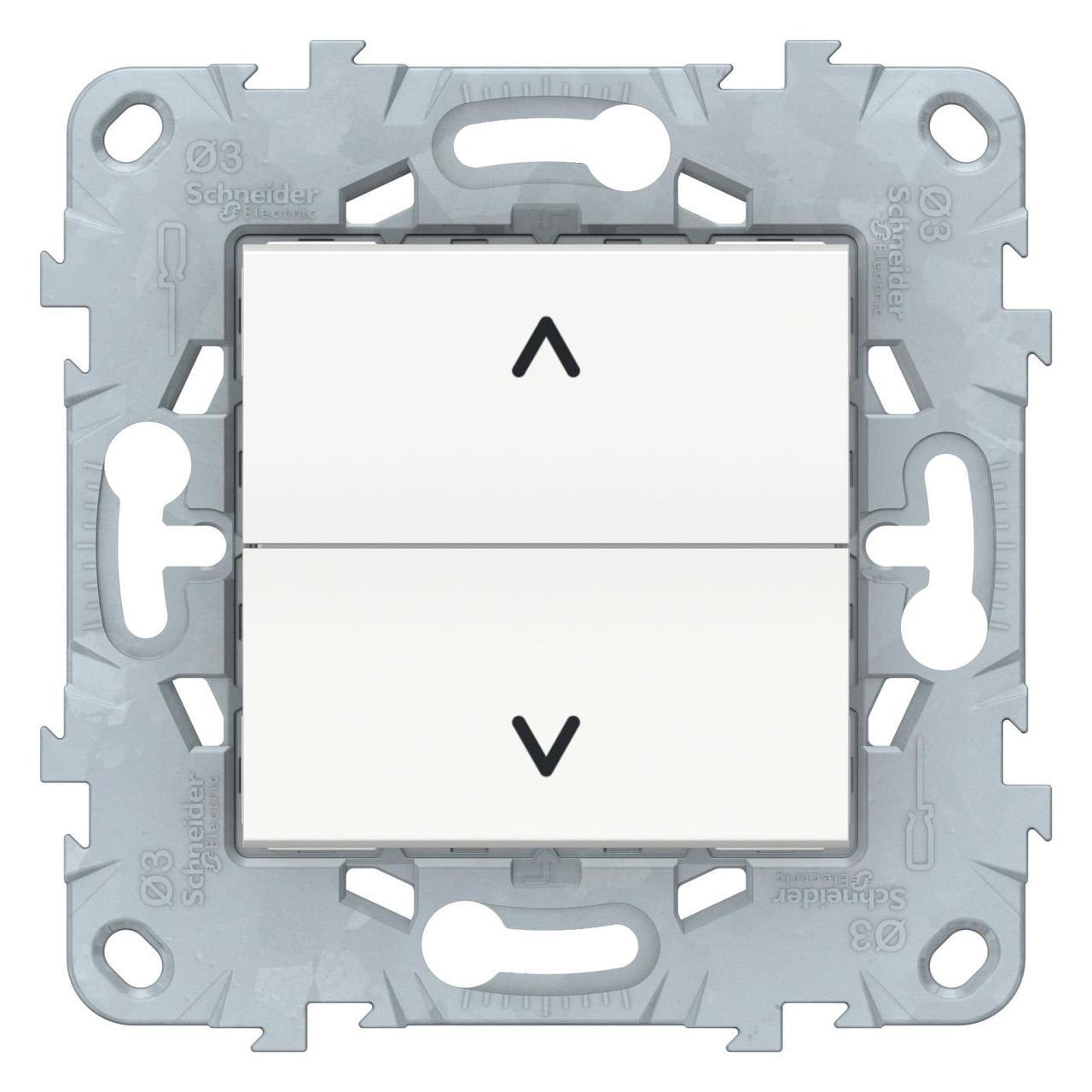 Выключатель для жалюзи (рольставней) кнопочный , Белый, серия Unica New, Schneider Electric