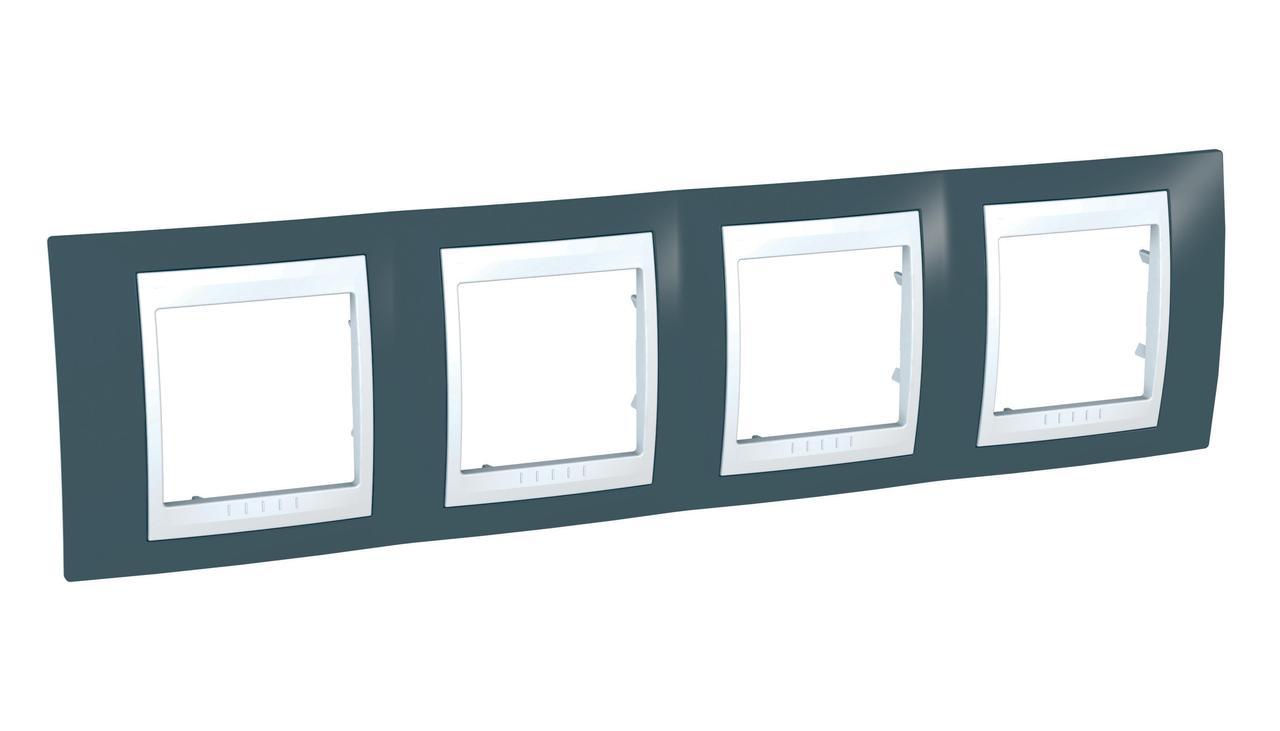 Рамка 4-ая (четверная), Серо-зеленый/Белый, серия Unica, Schneider Electric