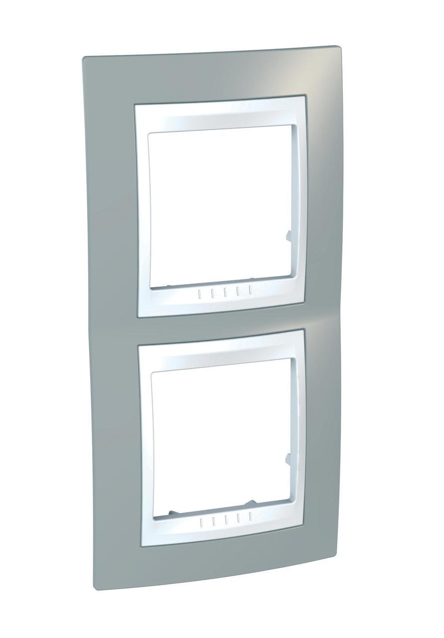 Рамка 2-ая (двойная) вертикальная, Серый/Белый, серия Unica, Schneider Electric
