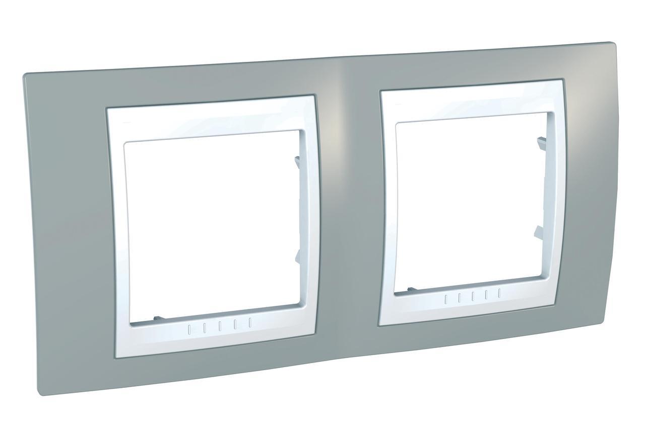Рамка 2-ая (двойная), Серый/Белый, серия Unica, Schneider Electric
