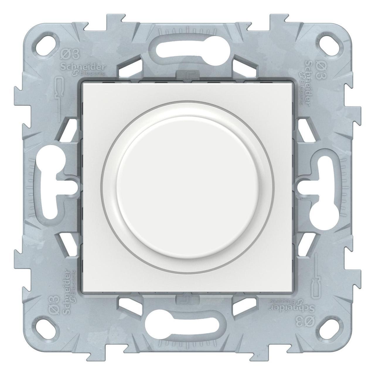 Диммер поворотно-нажимной , 200Вт LED универсальны , Белый, серия Unica New, Schneider Electric