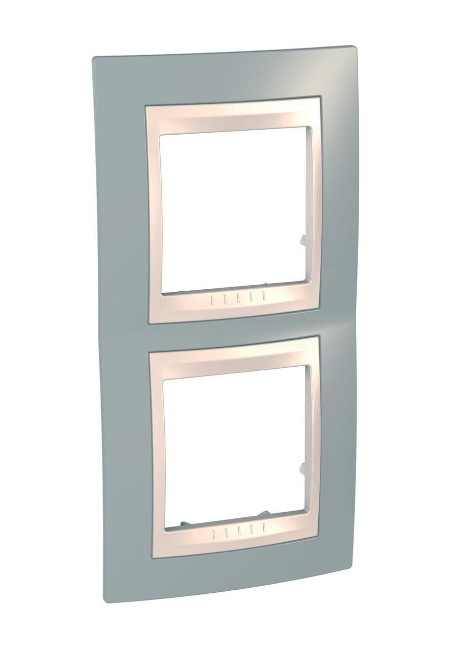 Рамка 2-ая (двойная) вертикальная, Серый/Бежевый, серия Unica, Schneider Electric