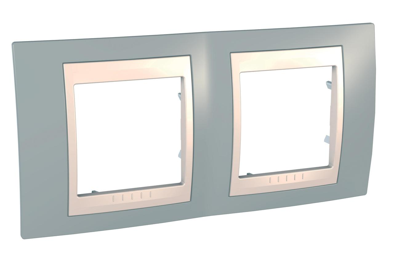 Рамка 2-ая (двойная), Серый/Бежевый, серия Unica, Schneider Electric