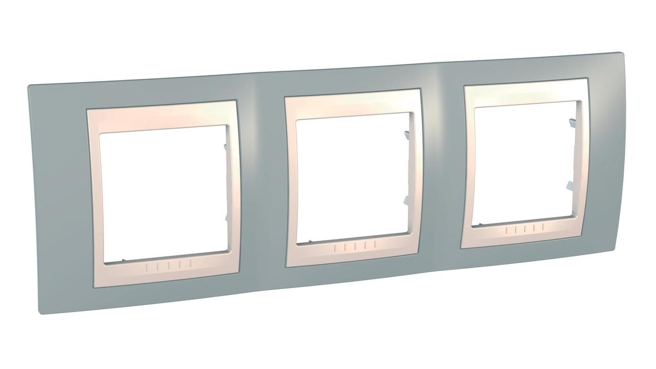 Рамка 3-ая (тройная), Серый/Бежевый, серия Unica, Schneider Electric