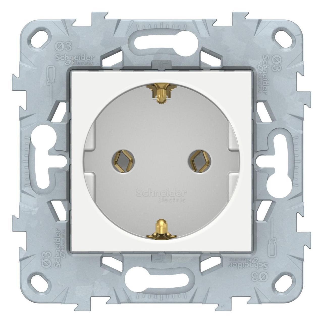 Розетка 1-ая электрическая , с заземлением (безвинтовой зажим) , Белый, серия Unica New, Schneider Electric