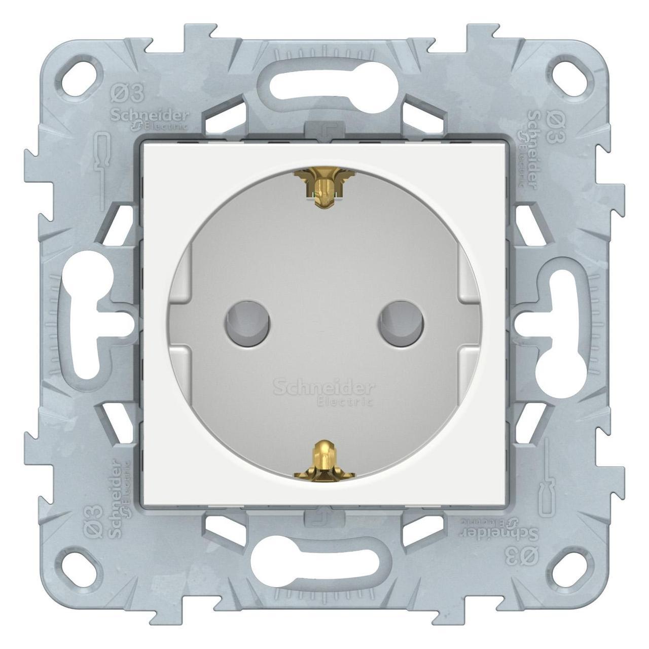Розетка 1-ая электрическая , с заземлением и защитными шторками (безвинтовой зажим) , Белый, серия Unica New, Schneider Electric