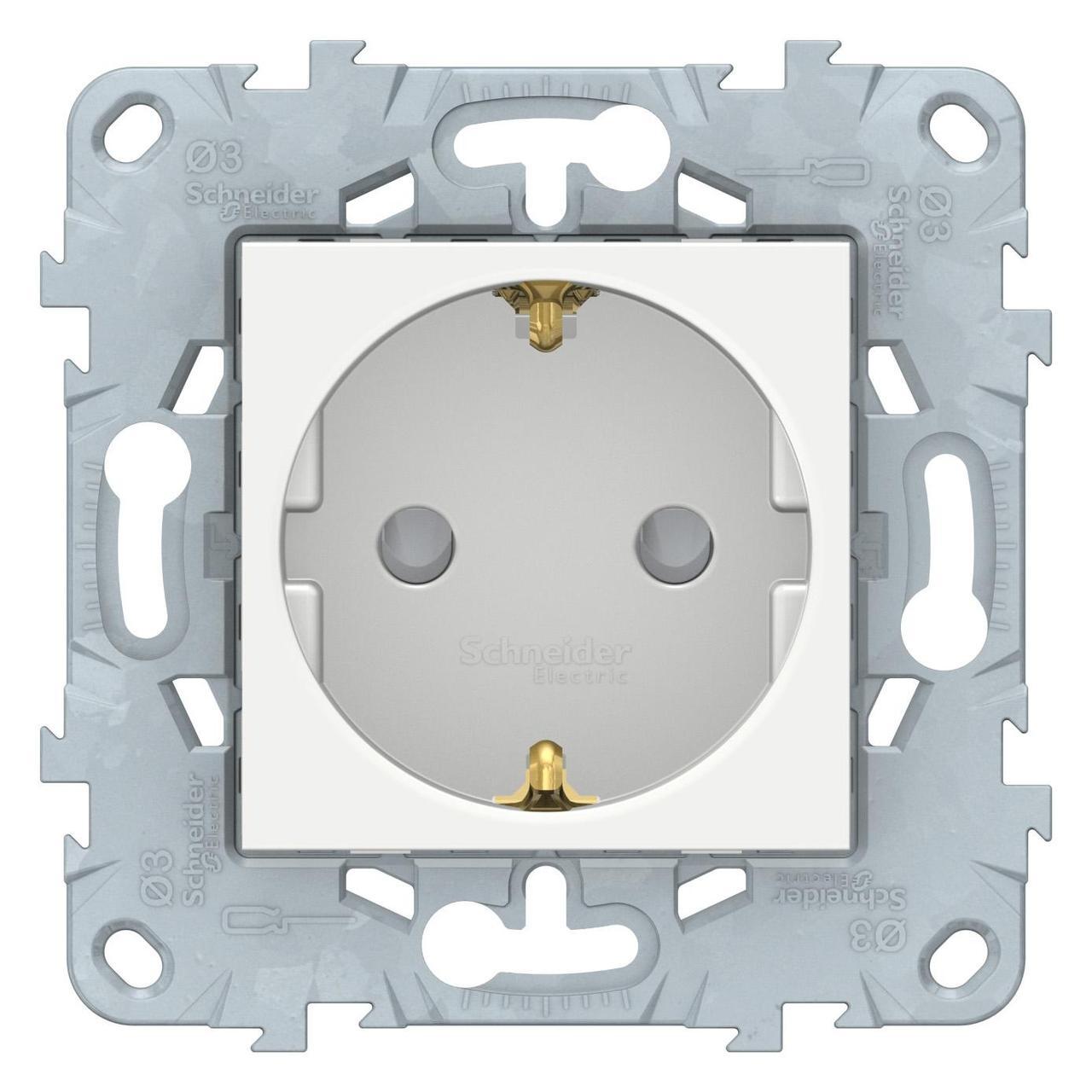Розетка 1-ая электрическая , с заземлением и защитными шторками (винтовой зажим) , Белый, серия Unica New, Schneider Electric