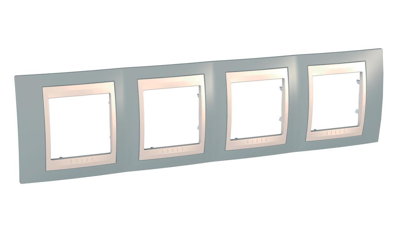 Рамка 4-ая (четверная), Серый/Бежевый, серия Unica, Schneider Electric