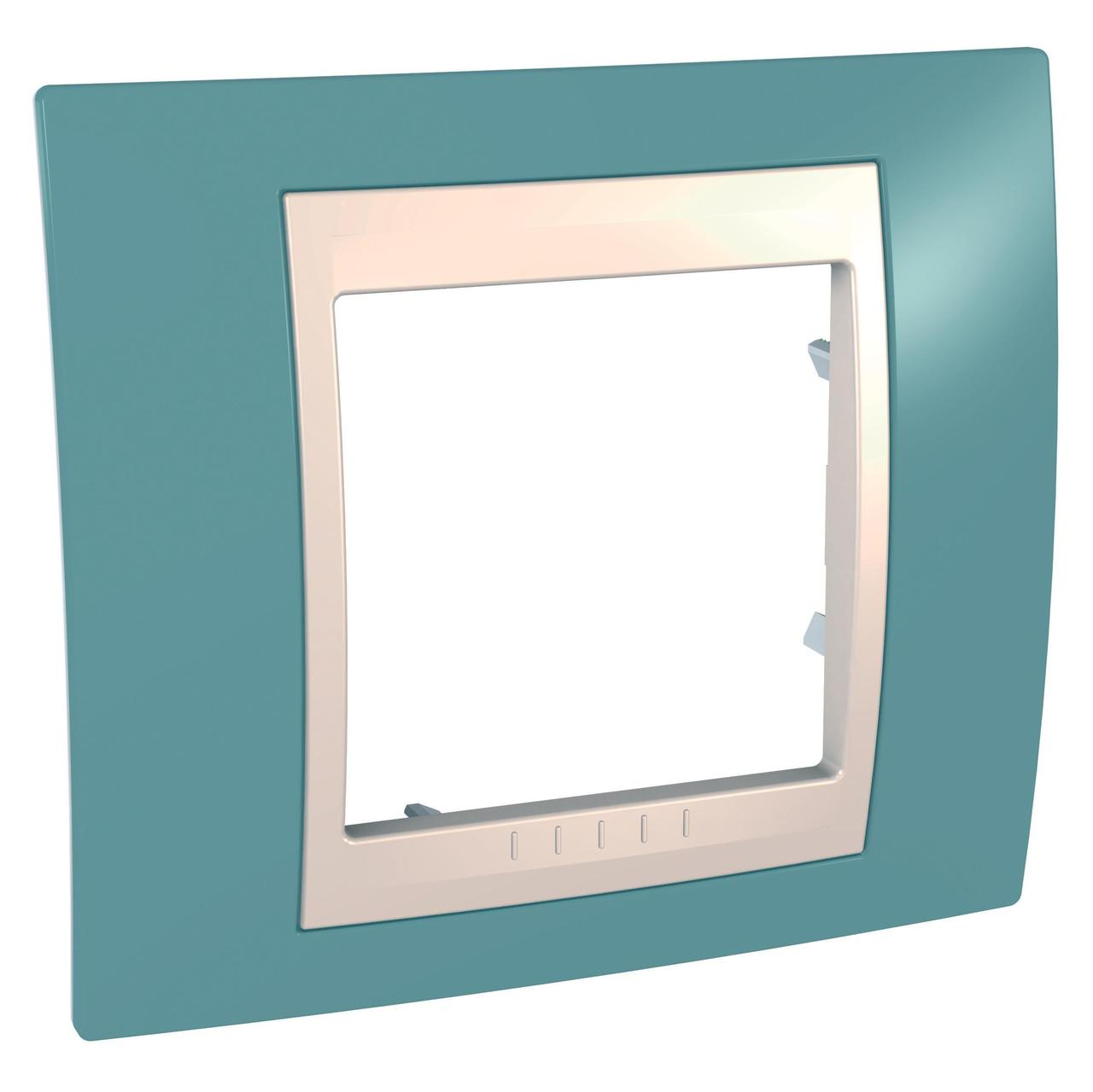 Рамка 1-ая (одинарная), Синий/Бежевый, серия Unica, Schneider Electric