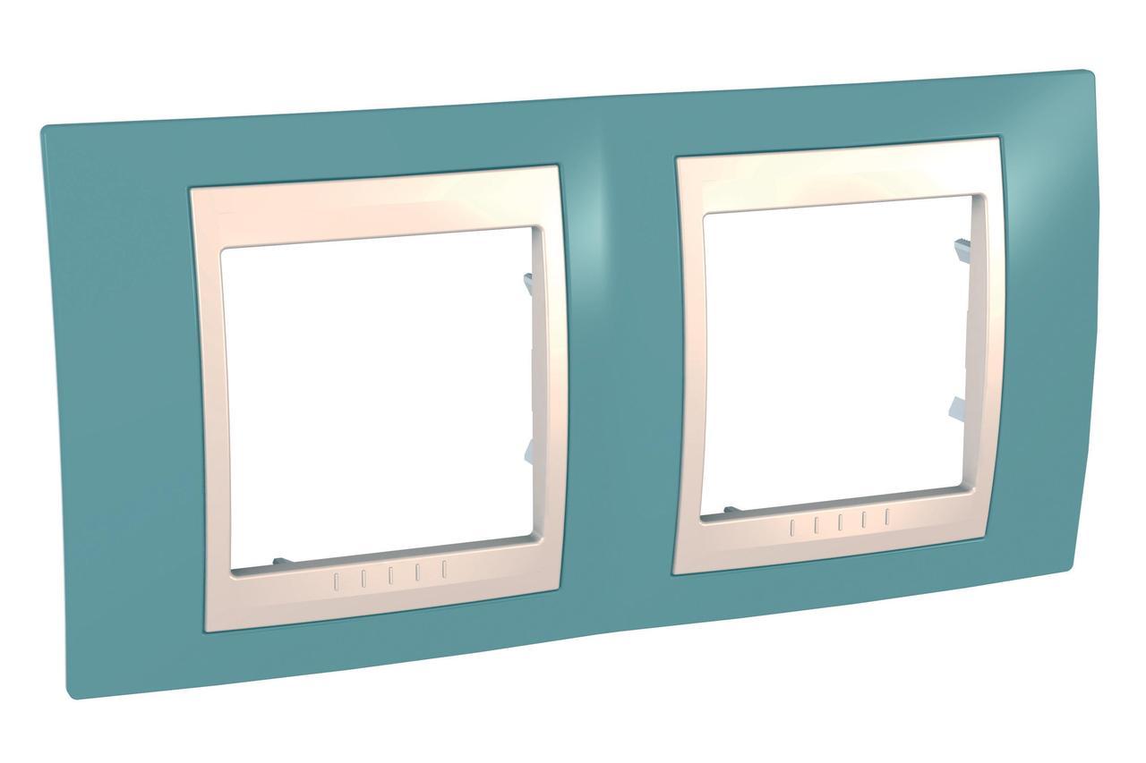 Рамка 2-ая (двойная), Синий/Бежевый, серия Unica, Schneider Electric