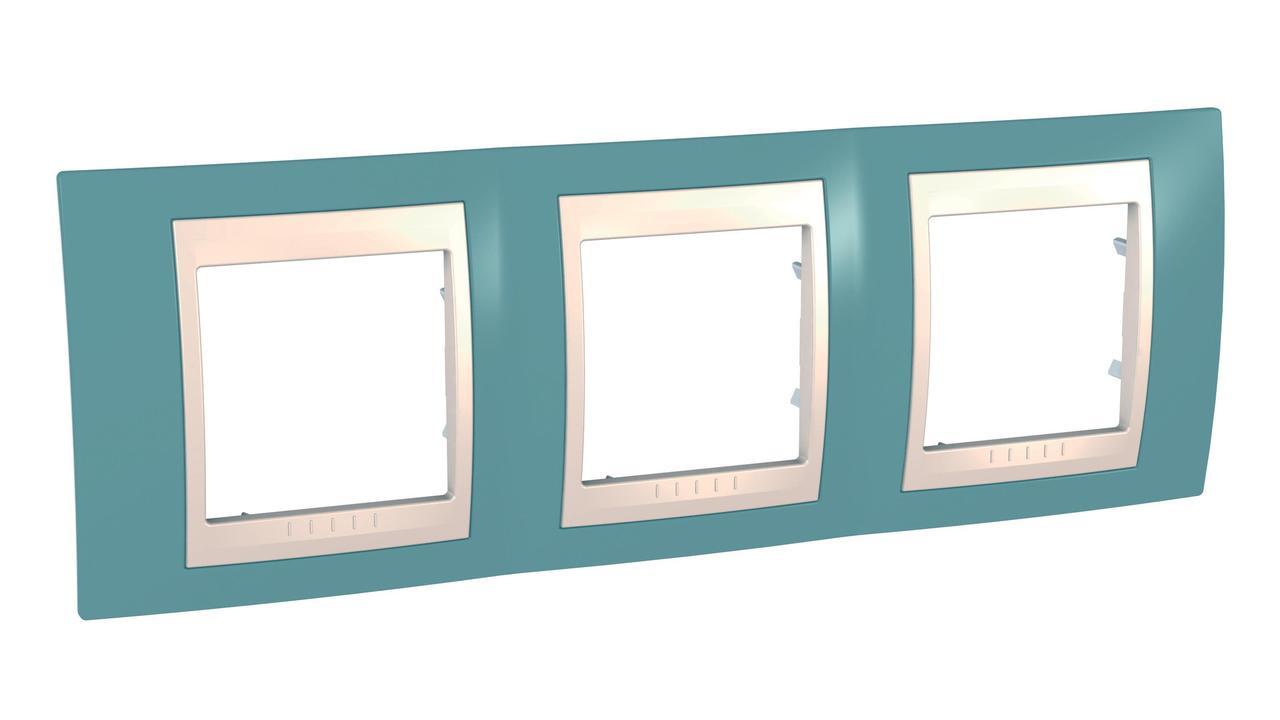Рамка 3-ая (тройная), Синий/Бежевый, серия Unica, Schneider Electric