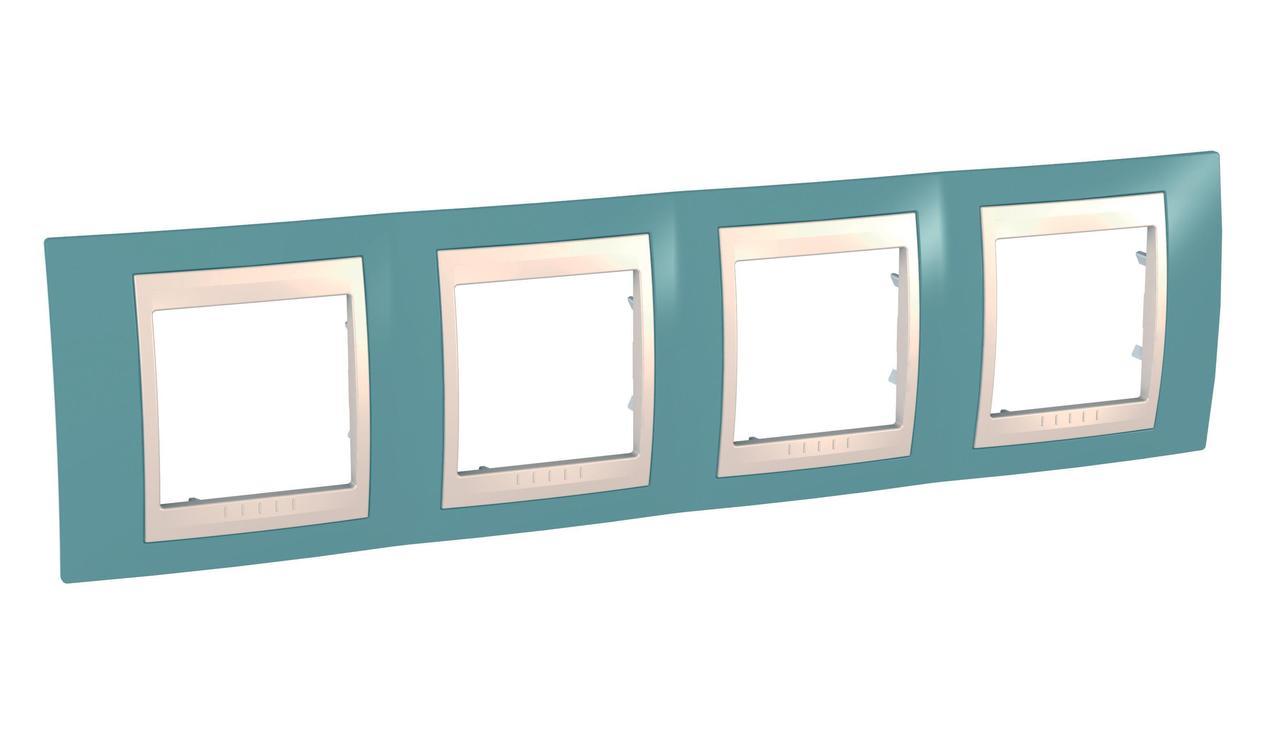 Рамка 4-ая (четверная), Синий/Бежевый, серия Unica, Schneider Electric