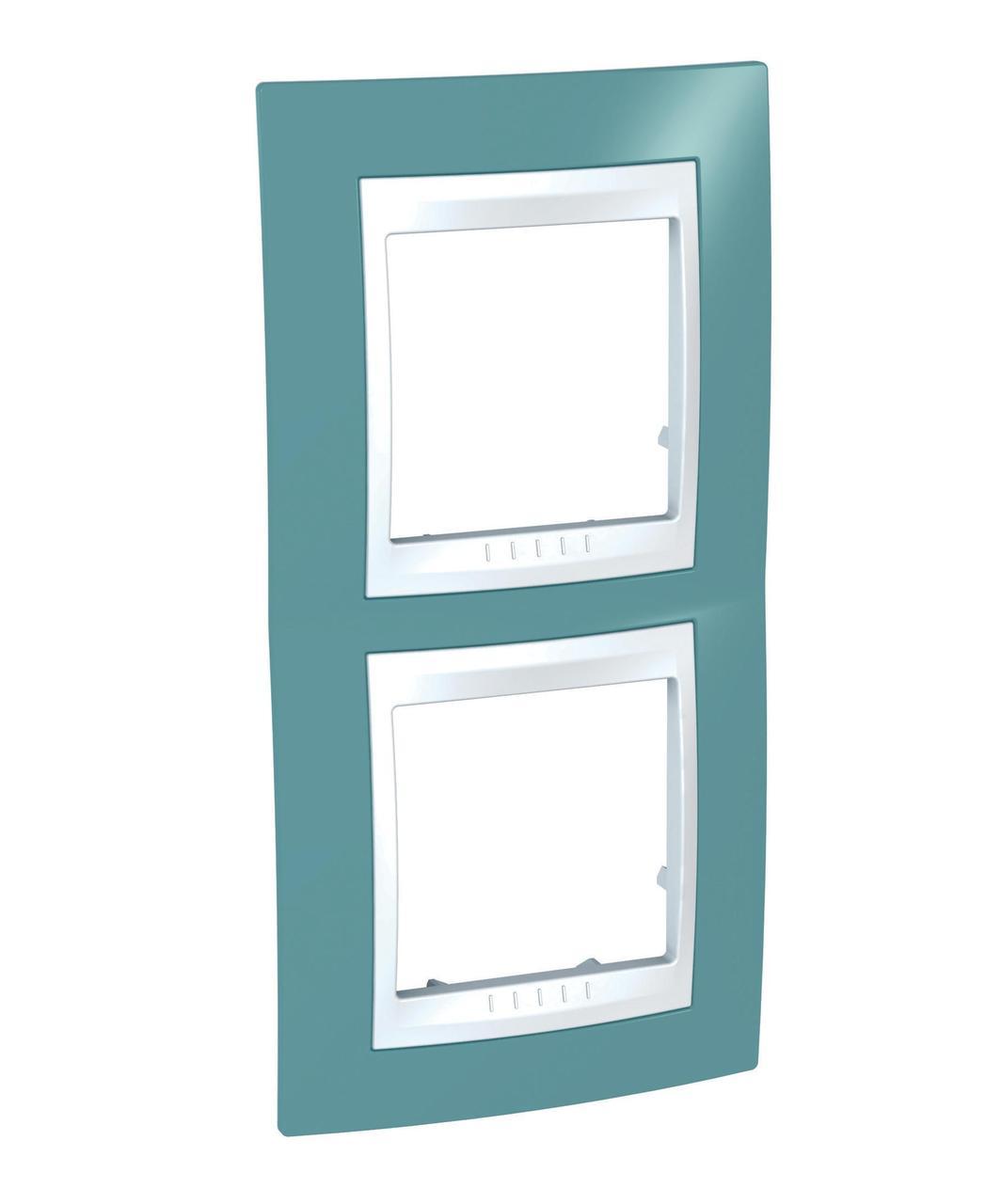 Рамка 2-ая (двойная) вертикальная, Синий/Белый, серия Unica, Schneider Electric