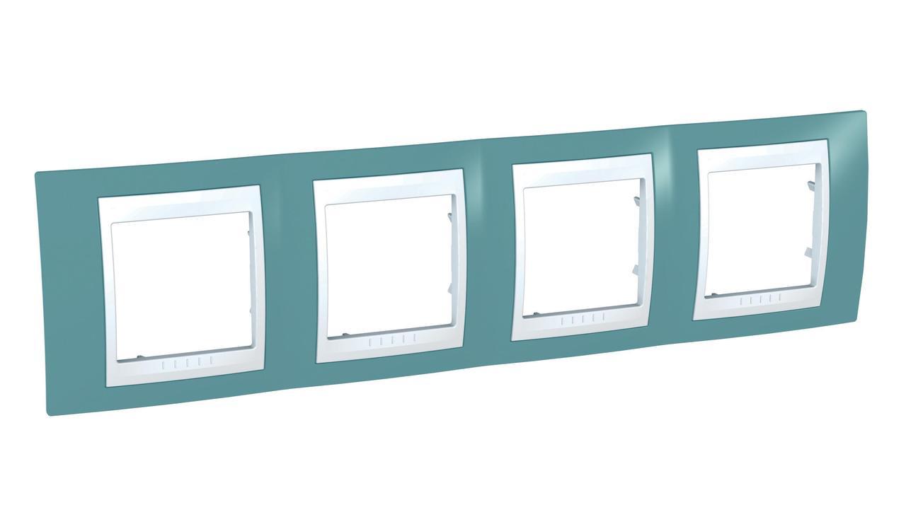 Рамка 4-ая (четверная), Синий/Белый, серия Unica, Schneider Electric