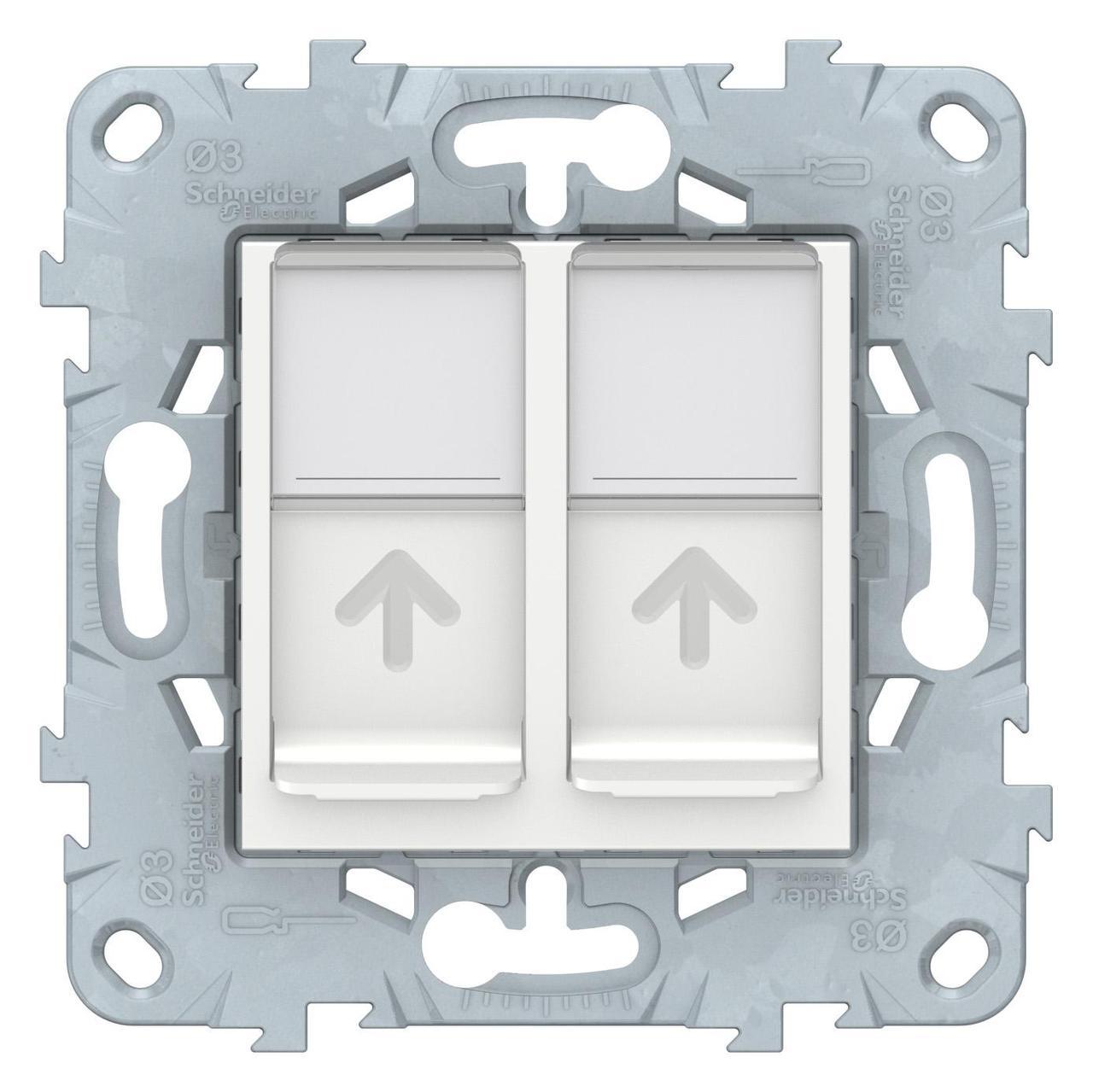 Розетка компьютерная 2-ая кат.5е, RJ-45 (интернет) , Белый, серия Unica New, Schneider Electric