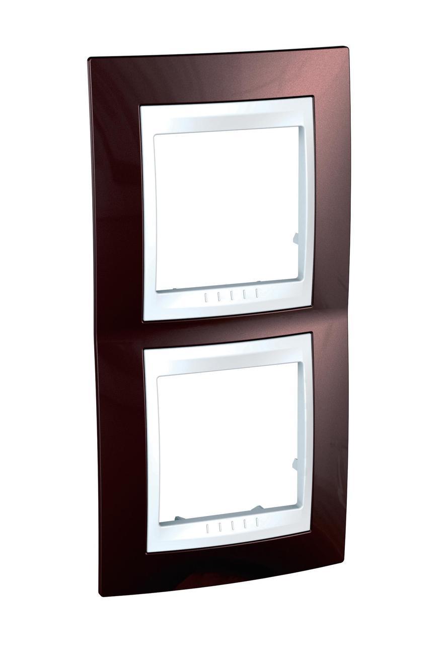 Рамка 2-ая (двойная) вертикальная, Терракотовый/Белый, серия Unica, Schneider Electric