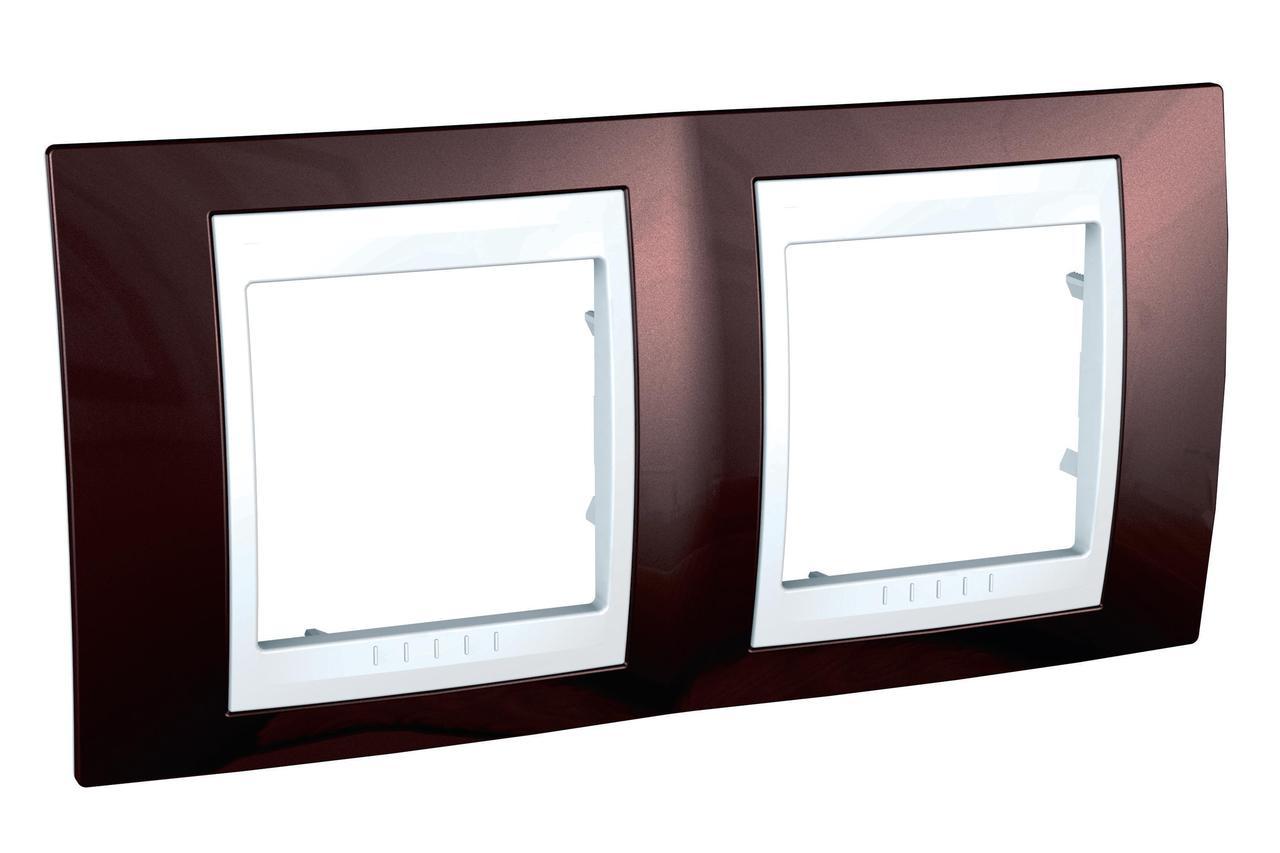 Рамка 2-ая (двойная), Терракотовый/Белый, серия Unica, Schneider Electric