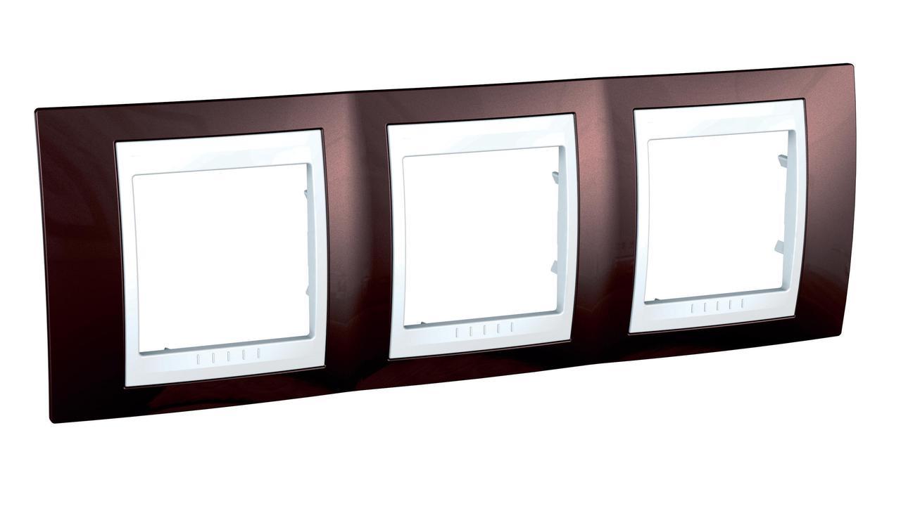 Рамка 3-ая (тройная), Терракотовый/Белый, серия Unica, Schneider Electric