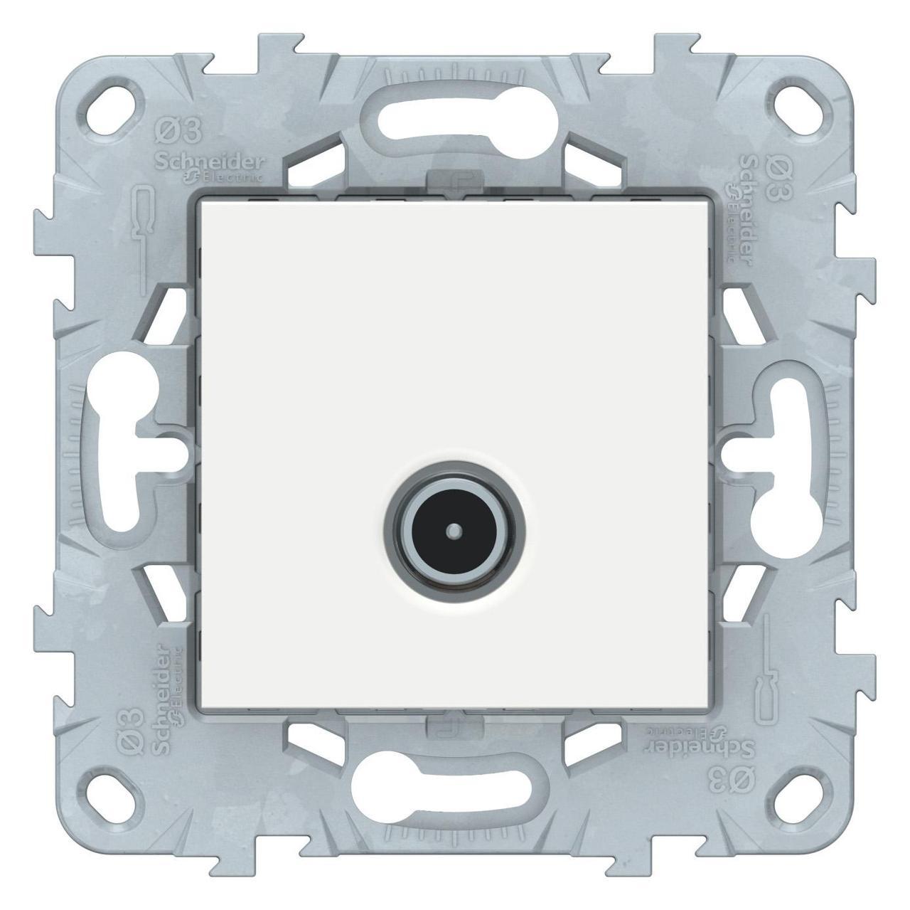Розетка телевизионная проходная ТV , Белый, серия Unica New, Schneider Electric