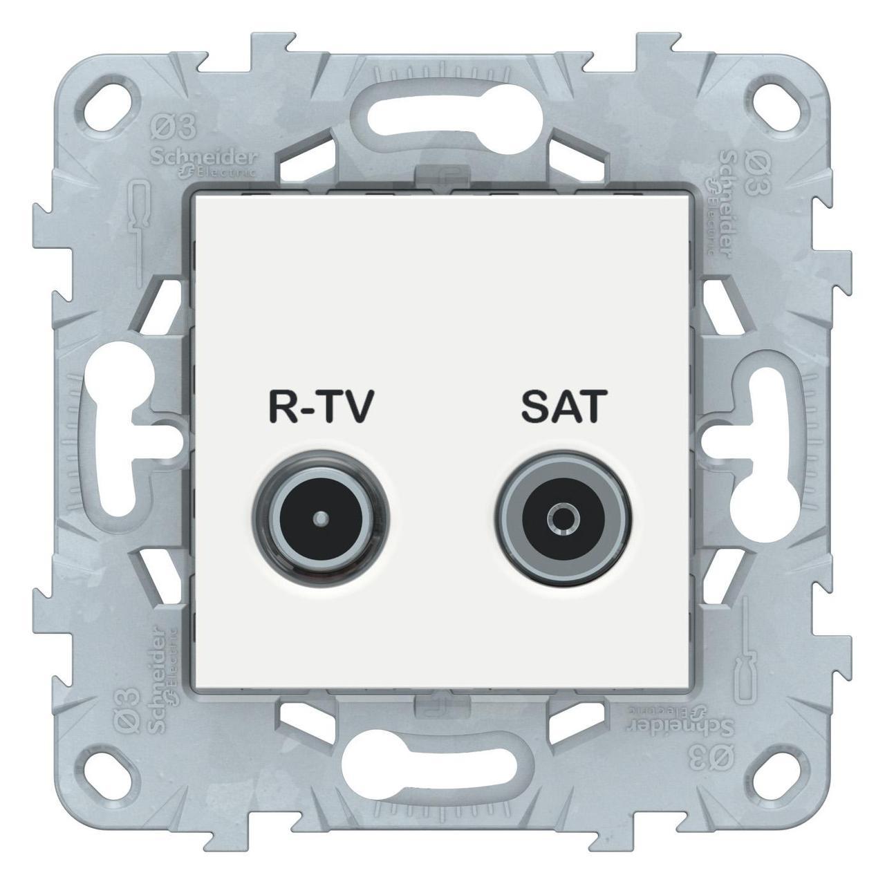 Розетка телевизионная проходная ТV-SAT , Белый, серия Unica New, Schneider Electric