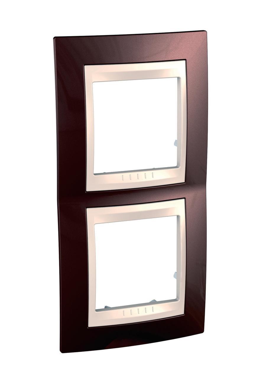 Рамка 2-ая (двойная) вертикальная, Терракотовый/Бежевый, серия Unica, Schneider Electric