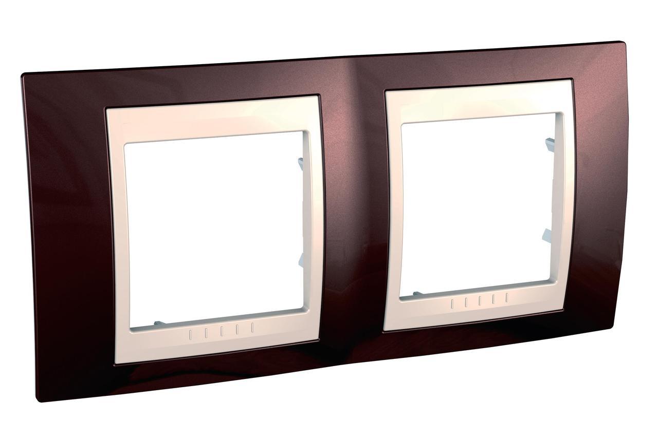 Рамка 2-ая (двойная), Терракотовый/Бежевый, серия Unica, Schneider Electric