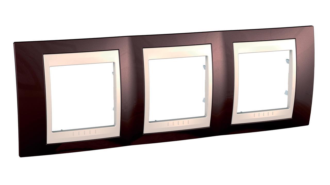 Рамка 3-ая (тройная), Терракотовый/Бежевый, серия Unica, Schneider Electric