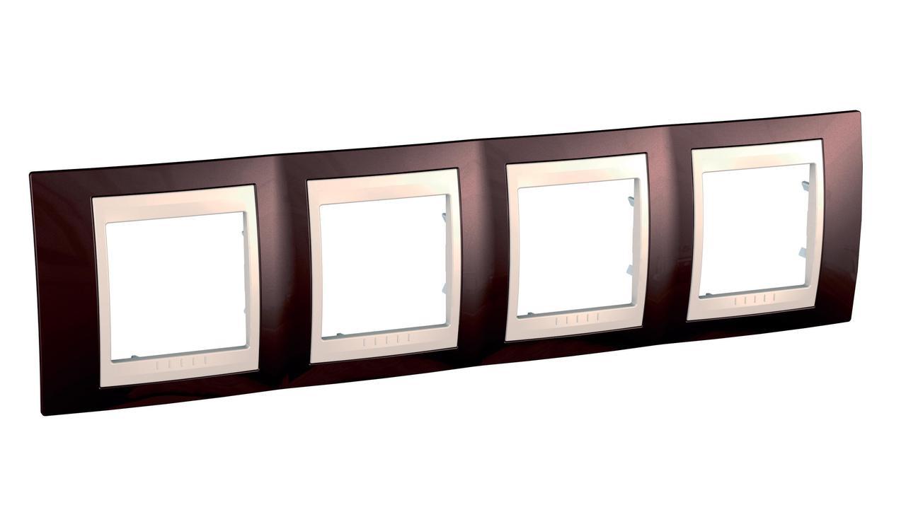 Рамка 4-ая (четверная), Терракотовый/Бежевый, серия Unica, Schneider Electric